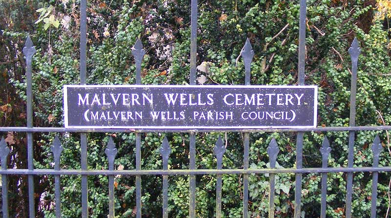 Malvern Wells cemetery sign